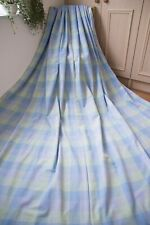LAURA ASHLEY BLUE GREEN CHECKED COTTON CURTAINS,50WX93D,P.PLEAT,HEAVY,EXTRA LONG