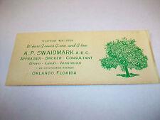 Vintage Orange Groves Business Card AP Swaidmark Orlando FL Ephemera