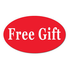 Free Gift 125 In X 075 In Oval Stickers Bright Red Roll Of 50 Labels