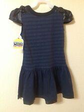 HARAJUKU Mini Toddler Girl Dress BLUE/ BLACK FAUX LEATHER  DRESSY Size XS(4/5)
