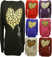 New Womens Plus Size Animal Heart Offshoulder Baggy Batwing Sleeve Tunic Tops