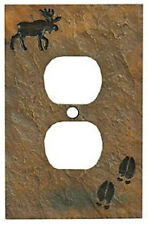 Moose w/ Tracks Outlet Cover (Slate Look) by Big Sky Carvers