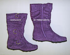 BOOTS – FASHION - PURPLE – TEXTILE SUEDE - STRAPS - BUCKLES - SIZE 6 - NEW $45