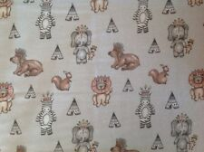 ~ FLANNEL ~ Tribal Jungle Animals ~ Quilting ~ Fabric~Flannelette~Grey~Boys~FQ ~