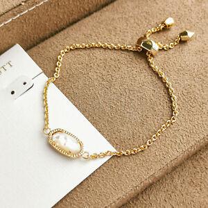 Kendra Scott Elaina / Adjustable Chain Bracelet Gold Ivory Pearl NEW