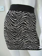 BNWT SES sz S/10 medium weight knitted black/beige sparkle zebra skirt