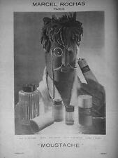 PUBLICITÉ DE PRESSE 1952 MARCEL ROCHAS EAU DE COLOGNE MOUSTACHE - ADVERTISING