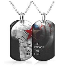 Captain America dog tags Dog Tag x2 30 inch Ball Chain Included Till the end