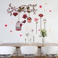 Wandtattoo Wandaufkleber Sticker  Romantik Sanft Mädchen Vögel Blume Dekorativ