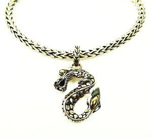 JOHN HARDY Naga Sterling Silver 18K Yellow Gold Dragon Bangle Bracelet