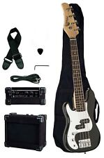 "Raptor 38"" Junior 3/4 Size 4 String Kid's Electric Bass Pack - Black LEFT HAND"