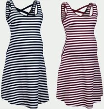 New Look Maternity White Striped Summer Holiday Pregnancy Skater Dress 10-16
