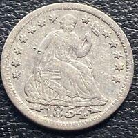 1854 Seated Liberty Half Dime 5c Higher Grade VF #29903