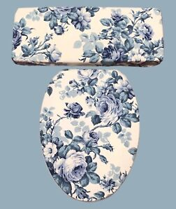 Big Fluffy Blue Roses Bathroom Decor Elongated Toilet Seat & Tank Lid Cover Set
