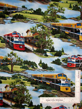 Rail King Train Locomotive Depot Station Scenic Cotton Fabric VIP By The Yard