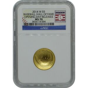 2014-W Baseball hall of Fame $5 Gold Coin NGC MS70 Opening day releases