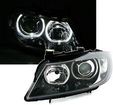 LED Angel Eyes Scheinwerfer weiße Ringe Set für 3er BMW E90 + E91 in Schwarz