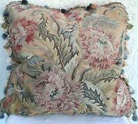 Fine Wool Needlepoint Down Filled Throw Pillow Floral Damask Tassel Fringe EUC