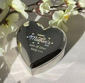 Personalised Engraved Silver Heart Jewellery Trinket Box - Birthday Xmas Gift