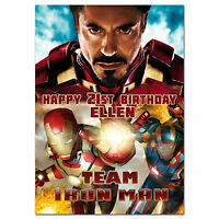 c114; Large Personalised Birthday card; Custom made for any name; team IRON MAN
