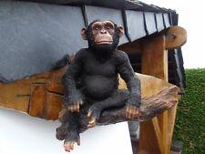statue d un singe assis sur branche en relief ! nouveau ! polyrésine