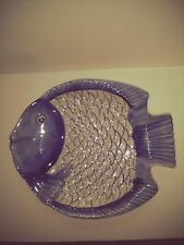 "Blue Fish Shaped Ceramic Serving Platter Tray 13"" X 12"" EUC"