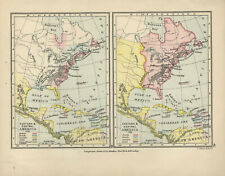 Antique Print - Map - Eastern & Central America At 1755 & 1763