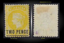 1873 ST. HELENA QUEEN VICTORIA OVP 2P ON 6P YELLOW - NO GUM SCT.13 SG. 10