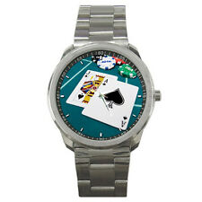 Blackjack Table Casino Poker Chips Cards Stainless Steel Watch