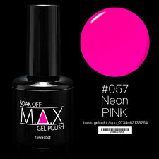 MAX 15ml Soak Off Gel Polish Nail Art UV LED Color #057 - Neon Pink