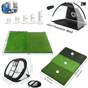 Golf Hitting Cage Practice Chipping Net Mat Train Aid Driver Training Home Gift