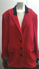 Vintage Chaus Blazer Jacket Black Red SZ 12 Wool Cashmere Blend Womens EUC
