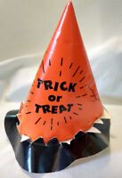Vintage Paper Halloween Party Hat Orange Black Witch Ghost Trick or Treat String