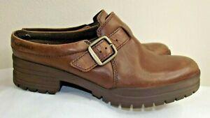 Merrell City Leaf Slide Mules Oak Brown Leather Shoes - Womens 7.5 Slip-On Clogs
