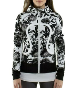Lululemon Women's Size 6 Scuba Hoodie Floral Black White Stretch Cotton Used
