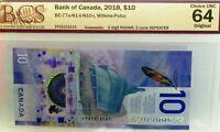 1211121 repeater  2 DIGIT RADAR BANK OF CANADA 2018 $10 - graded 64 UNCIRCULATED