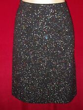 "New St John Evening black Santana knit skirt multi color ""Confetti"" crystals  6"