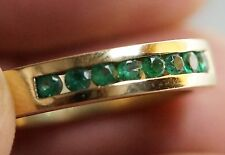 44+ct Natural Emerald Eternity 14K Yellow Gold Band, 8 Emeralds, Size 9-1/2