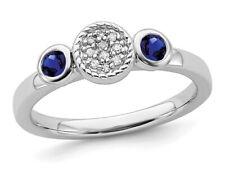 Criado Safira Anel Com Diamantes 1/3 Quilates (Ctw)