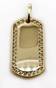 "Men 10K Yellow Gold CZ Custom Dog Tag Charm Pendant, 1.53"", 7.5 Grams"