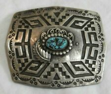 Old Pawn Silver & Turquoise Southwestern Belt Buckle