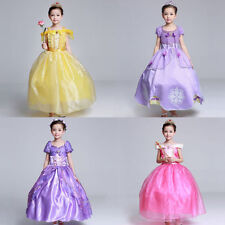 Kids Girls Princess Costume Fairytale Dress Up Belle Cinderell Aurora Rapunzel.