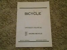 "Old Vintage 24"" 26"" 27"" Racing Bicycle Owner's Manual Bike Assembly Maintenance"