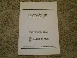 """Old Vintage 24"""" 26"""" 27"""" Racing Bicycle Owner's Manual Bike Assembly Maintenance"""