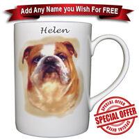 English Bulldog - Bone China Mug + Personalised with any name added for free