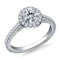 0.98 Ct Round Cut Solitaire Diamond Engagement Ring 18K White Gold Rings Size K