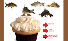 carp fish fishing X24 stand up cup cake toppers wafer paper *precut*