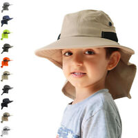 Boonie Snap Hat for Kids Wide Brim Visor Neck Cover Sun Flap Cap for Outdoors