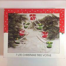 "WM Rogers & Son Silver Plated 7 Lite Christmas Tree & Glass Votive Holder - 15"""