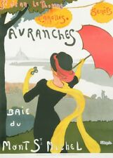 AVRANCHES BAIE DU MONT ST MICHEL Vintage French Travel Poster. Art Deco